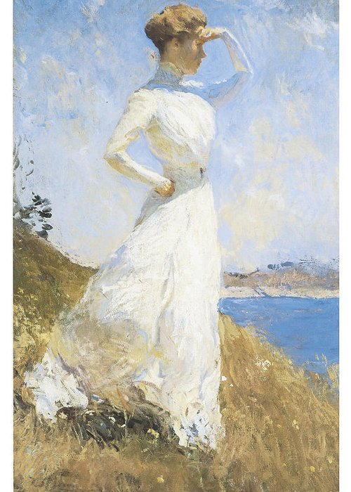 Frank Benson Greeting Card featuring the painting Sunlight by Frank Benson