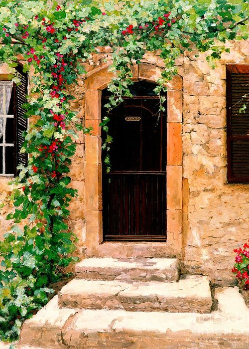 French Door Greeting Card featuring the painting Sunlight Vines - Oil by Michael Swanson