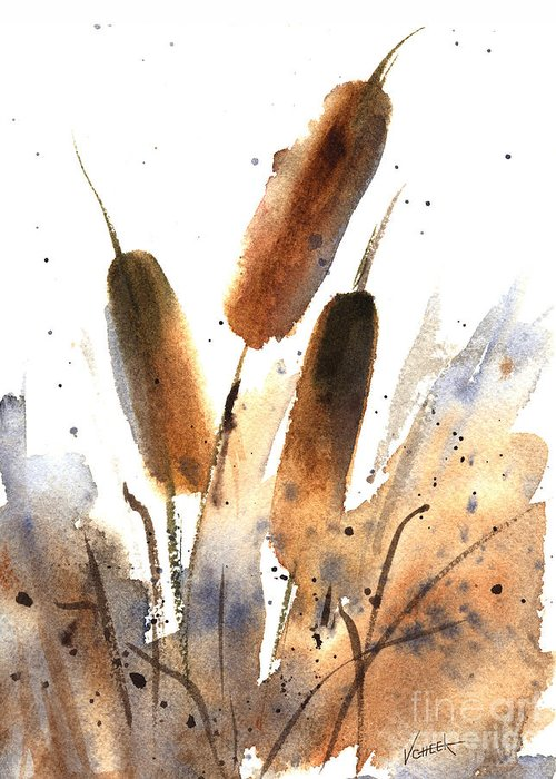 Art Greeting Card featuring the painting Sunlit Cattails by Vickie Sue Cheek