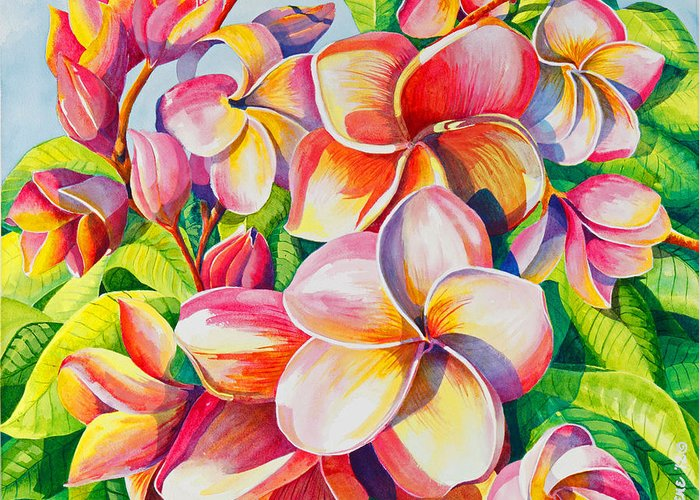 Flowers Greeting Card featuring the painting Sunlit Plumeria by Janis Grau