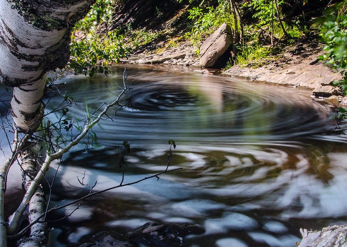Potato River Falls Greeting Card featuring the photograph Sunlit Swirls by Cory Carbon