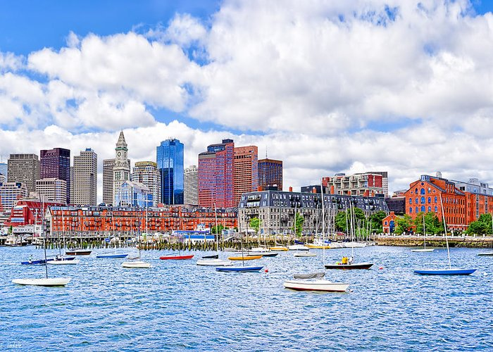 Boston Harbor Greeting Card featuring the photograph Sunny Afternoon On Boston Harbor by Mark E Tisdale
