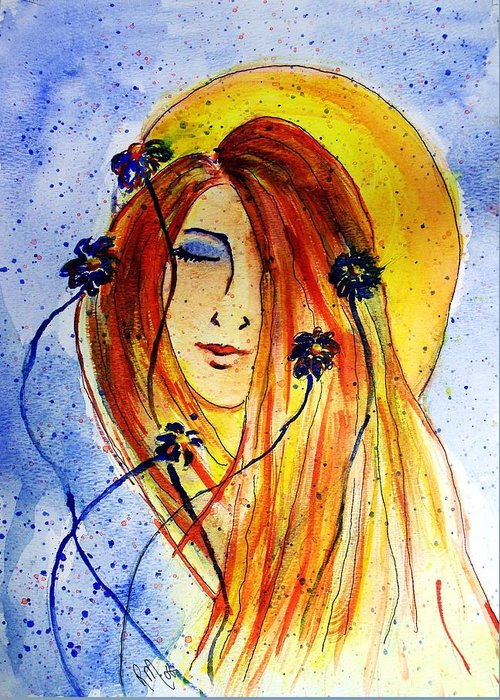 Face Greeting Card featuring the painting Sunny Disposition by Robin Monroe