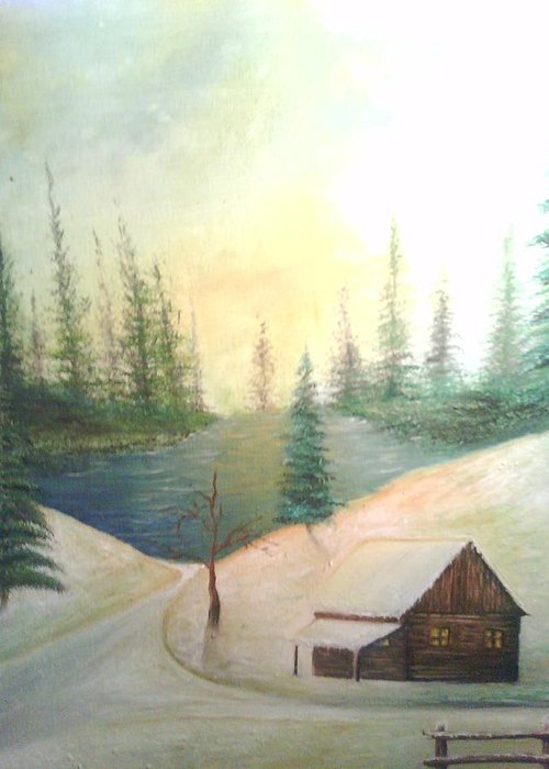 Snow Greeting Card featuring the painting Sunny Snow by Domingo Sanchez