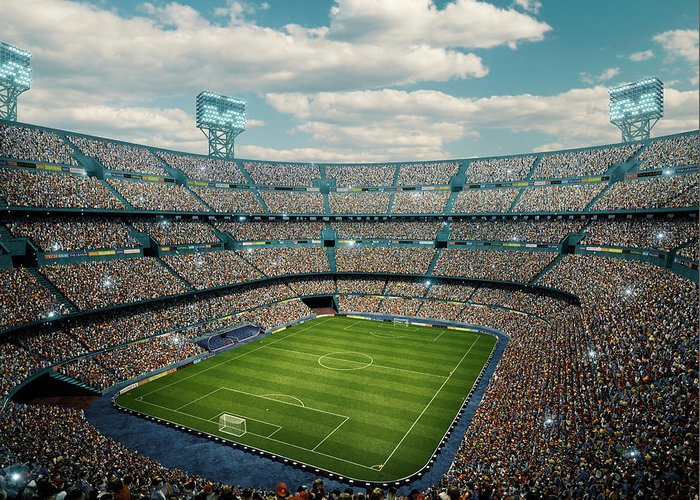 Event Greeting Card featuring the photograph Sunny Soccer Stadium Panorama by Dmytro Aksonov