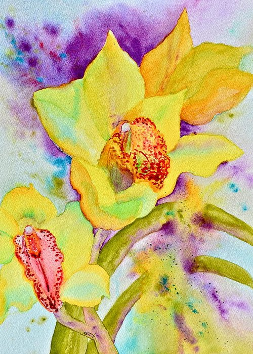 Sunny Splash Of Orchids Greeting Card featuring the painting Sunny Splash Of Orchids by Beverley Harper Tinsley