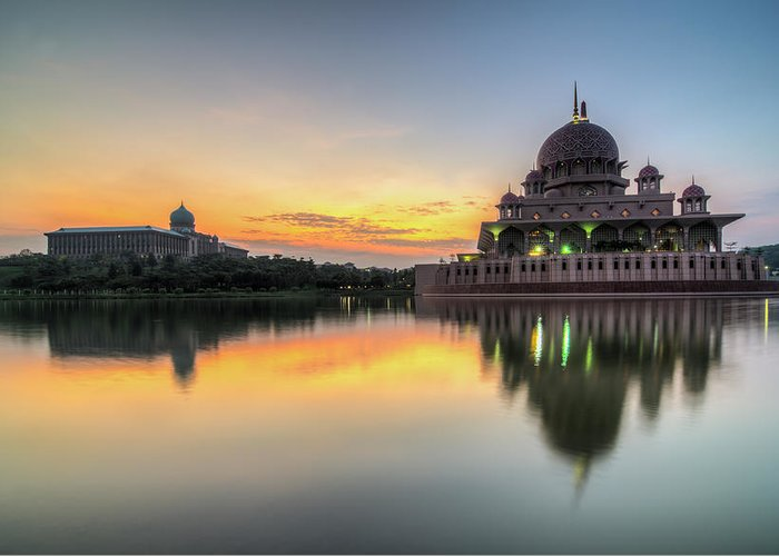Tranquility Greeting Card featuring the photograph Sunrise | Masjid Putra, Putrajaya | Hdr by Mohamad Zaidi Photography