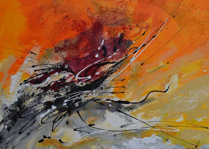 Sunrise Greeting Card featuring the painting Sunrise - Abstract by Ismeta Gruenwald