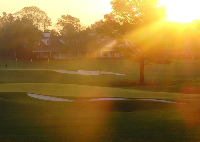 Augusta National Greeting Card featuring the photograph Sunrise At Augusta National by Bo Watson