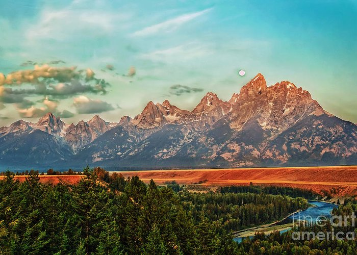 Landscape Greeting Card featuring the photograph Sunrise At Grand Tetons by Robert Bales