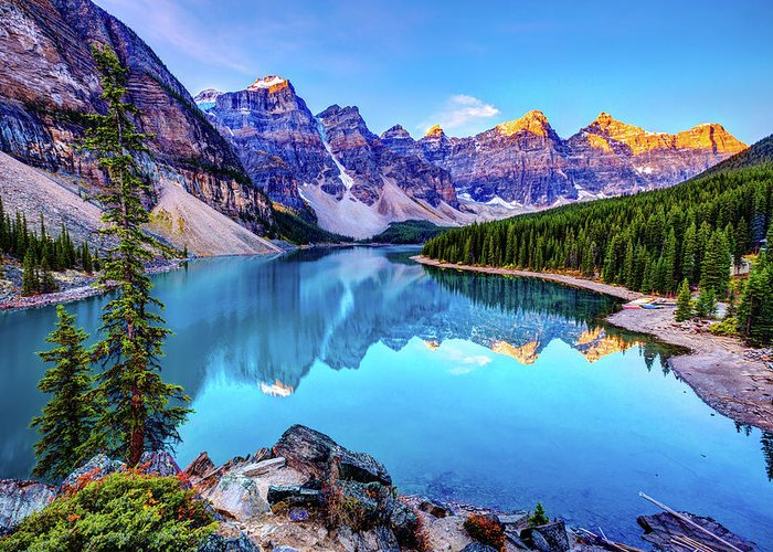 Tranquility Greeting Card featuring the photograph Sunrise At Moraine Lake by Wan Ru Chen