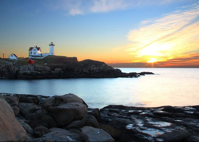 York Greeting Card featuring the photograph Sunrise At Nubble by Andrea Galiffi