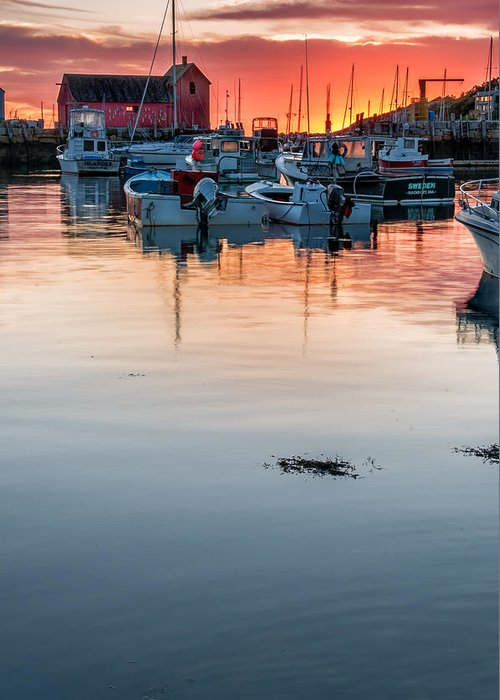 Cape Ann Greeting Card featuring the photograph Sunrise At Rockport Harbor - Cape Ann by Thomas Schoeller