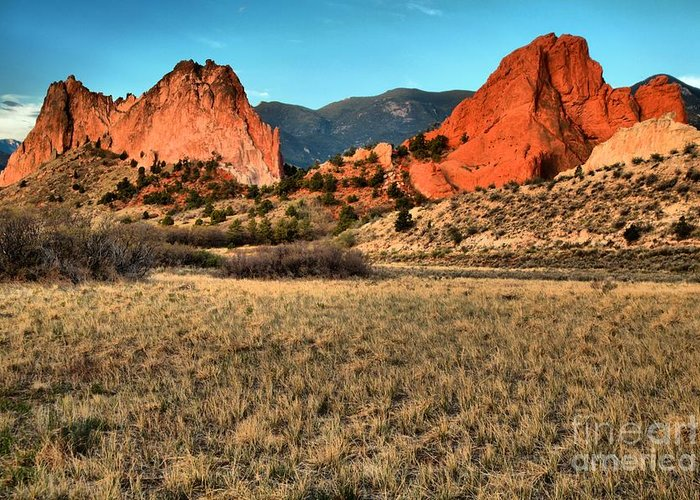 Sunrise At Garden Of The Gods Greeting Card featuring the photograph Sunrise At The Garden by Adam Jewell