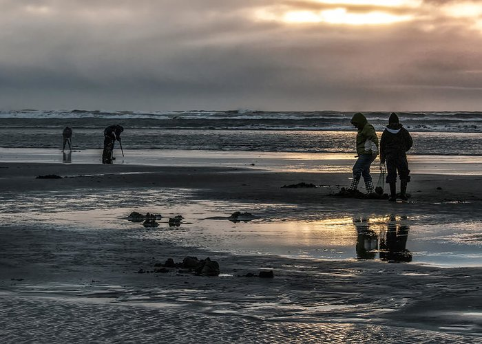 Sunrises Over The Diggers Of Clams Greeting Card featuring the photograph Sunrise Clam Tide by Nichon Thorstrom