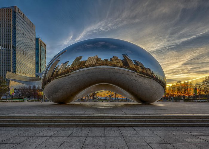 Chicago Cloud Gate Greeting Card featuring the photograph Sunrise Cloud Gate by Sebastian Musial