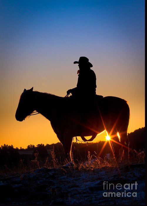 America Greeting Card featuring the photograph Sunrise Cowboy by Inge Johnsson
