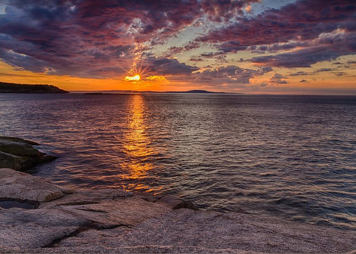 Sunrise In Acadia Greeting Card featuring the photograph Sunrise Drama Acadia National Park by Jeff Sinon