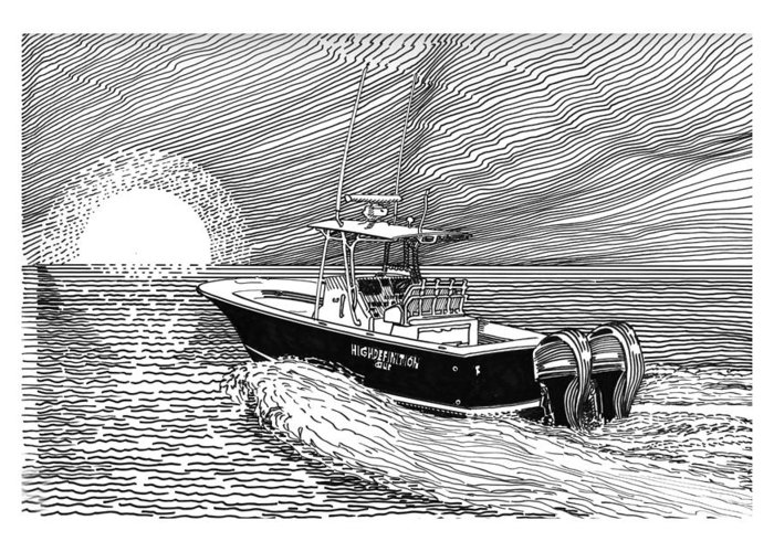 Ink Drawings By Jack Pumphrey Of Yacht Greeting Card featuring the drawing Sunrise Fishing by Jack Pumphrey