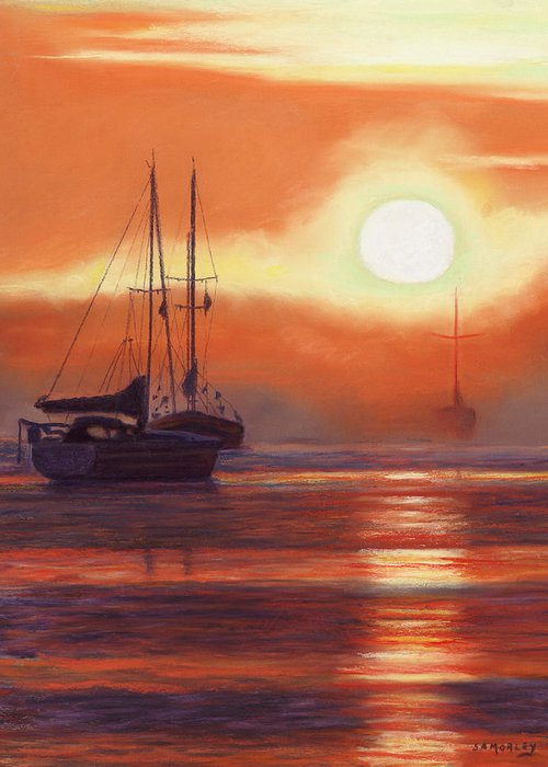 Seascape Greeting Card featuring the painting Sunrise In Newburyport Mass by Sharon Morley