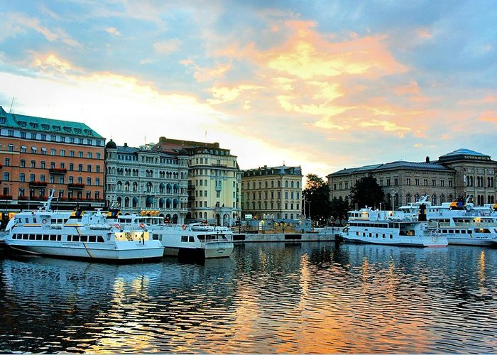 Stockholm Greeting Card featuring the photograph Sunrise In Stockholm by Jenny Hudson