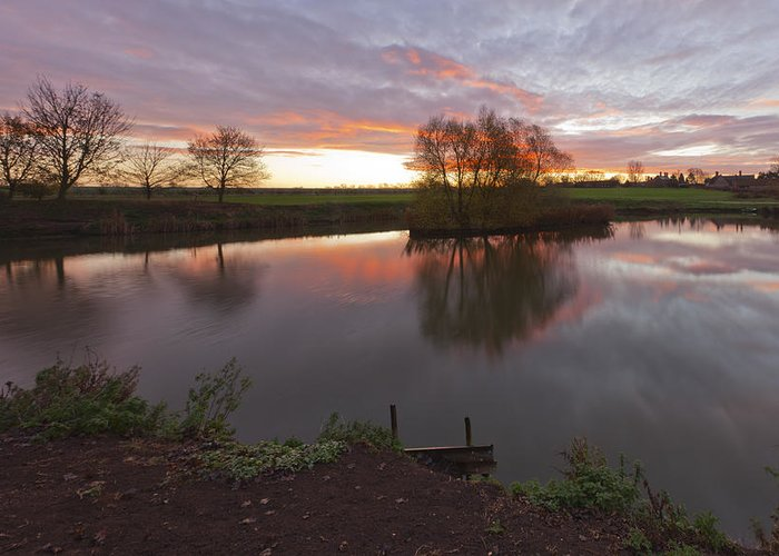 Lenton Greeting Card featuring the photograph Sunrise Lenton Fishing Pond by Nick Atkin