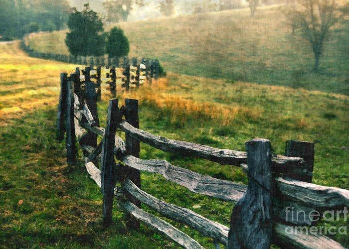 Blue Ridge Parkway Greeting Card featuring the painting Sunrise Meadow - Blue Ridge Parkway II by Dan Carmichael