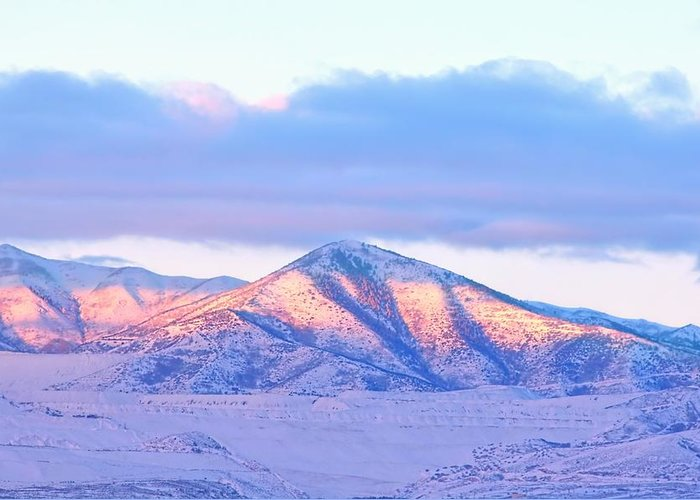 Sunrise Greeting Card featuring the photograph Sunrise On Snow Capped Mountains by Tracie Kaska