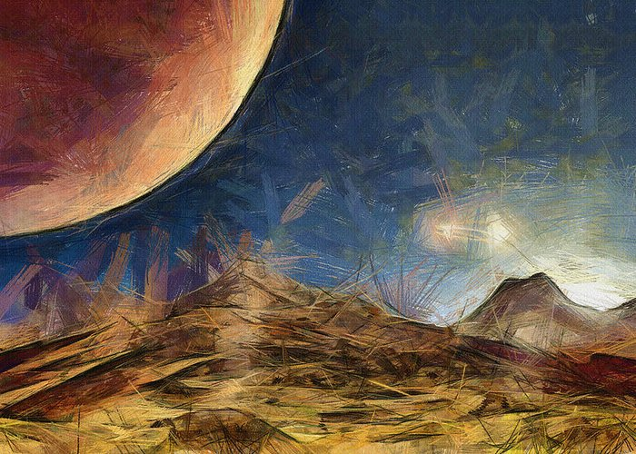 Space Greeting Card featuring the painting Sunrise On Space by Inspirowl Design