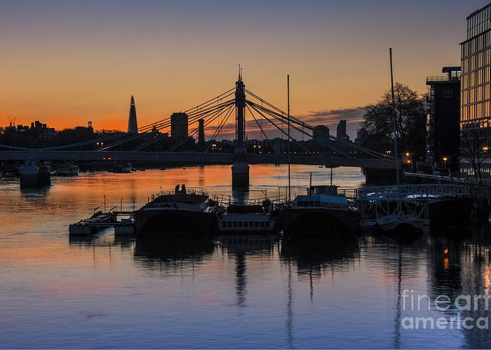 Battersea Bridge Greeting Card featuring the photograph Sunrise On The Thames by Donald Davis