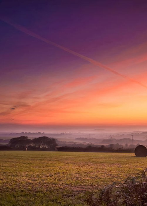 Landscape Greeting Card featuring the photograph Sunrise Over Cornwall by Christine Smart