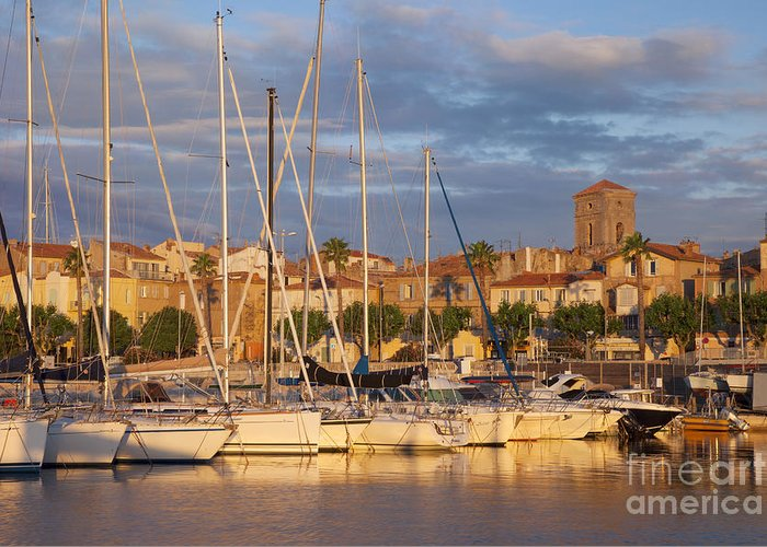 Boats Greeting Card featuring the photograph Sunrise Over La Ciotat France by Brian Jannsen