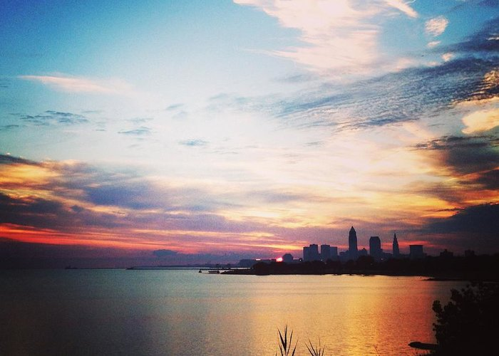 Sunrise Greeting Card featuring the photograph Sunrise Over Lake Erie Cleveland by Lauren Wiant