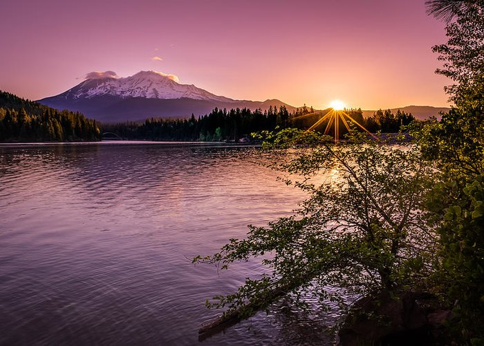 California Greeting Card featuring the photograph Sunrise Over Lake Siskiyou And Mt Shasta by Scott McGuire