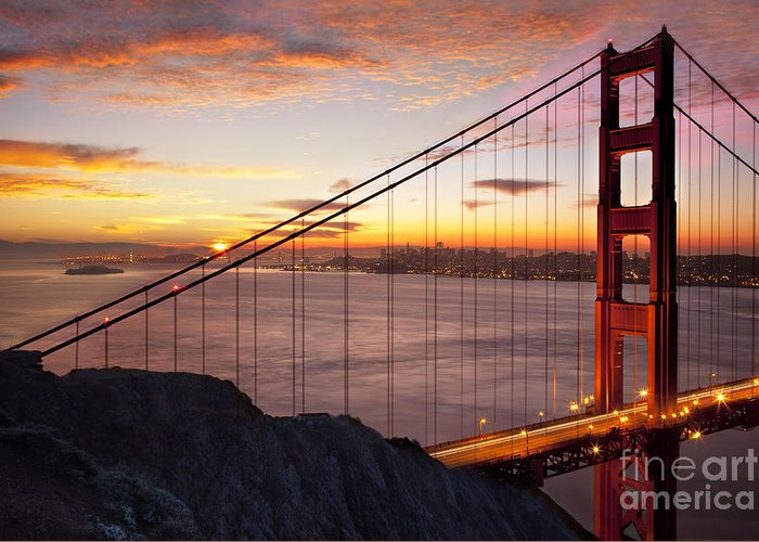 Sunrise Greeting Card featuring the photograph Sunrise Over The Golden Gate Bridge by Brian Jannsen