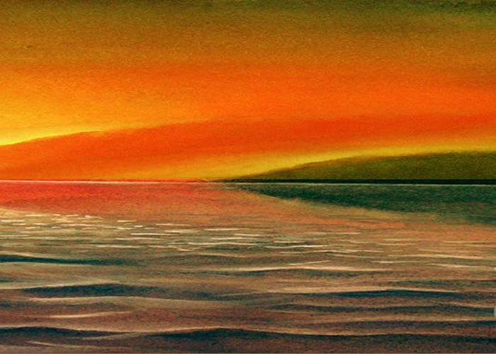 Sunset Greeting Card featuring the painting Sunrise Over The Sea by Christian Simonian