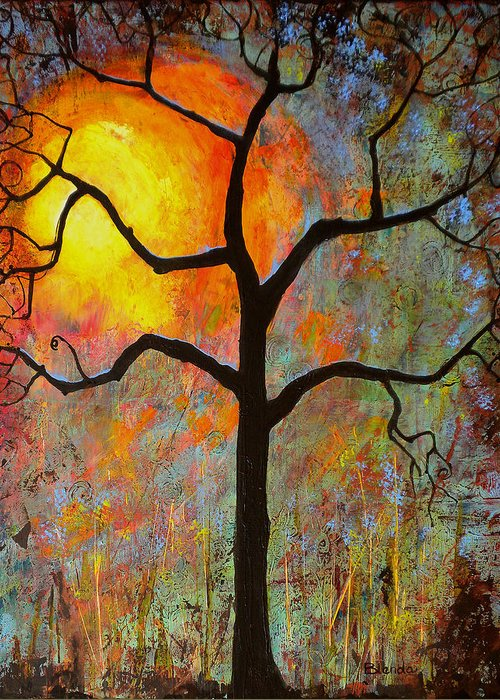 Tree Greeting Card featuring the painting Sunrise Sunset by Blenda Studio