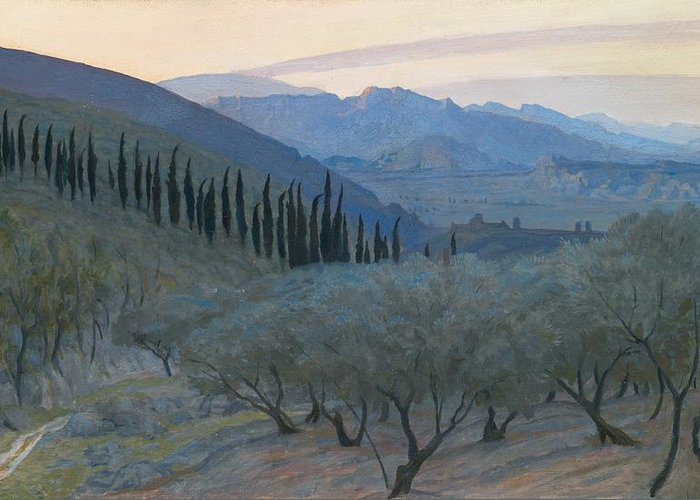 Umbria; Italy; Italian; Landscape; View; Picturesque; Sunrise; Morning; Olive Tree; Trees; Mountains; Mountainous; Hills; Hilly; Umbrian Greeting Card featuring the painting Sunrise Umbria 1914 by Sir William Blake Richmond