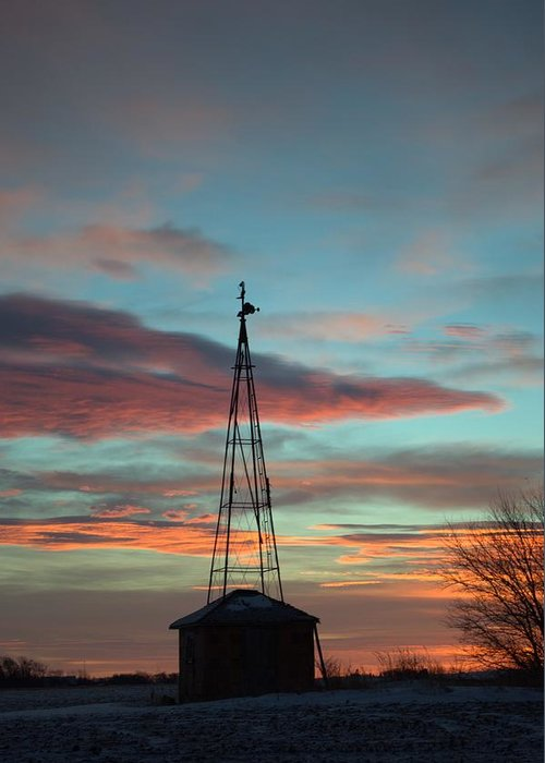 Windmill Greeting Card featuring the photograph Sunrise Windmill by Bonfire Photography