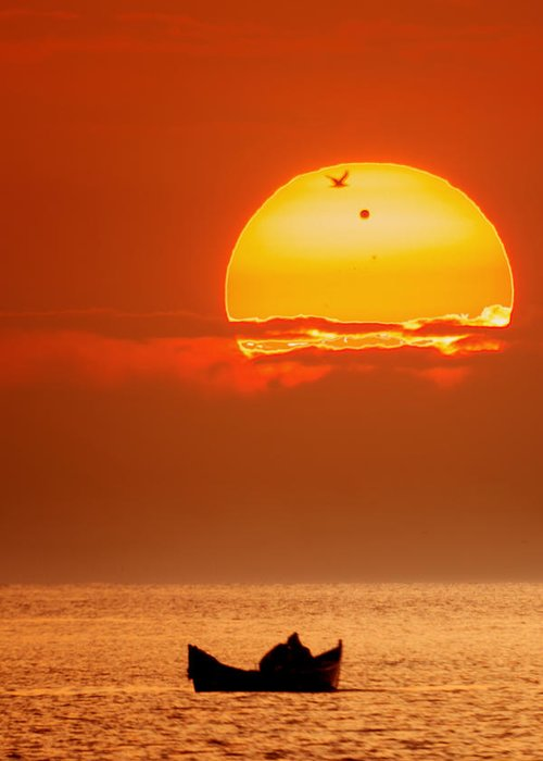 Landscape Greeting Card featuring the photograph Sunrise With Venus On It by Alex Conu