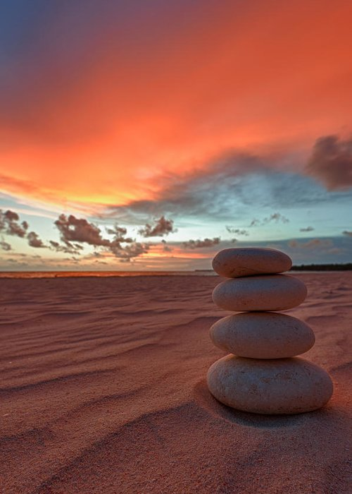 Cairn Greeting Card featuring the photograph Sunrise Zen by Sebastian Musial