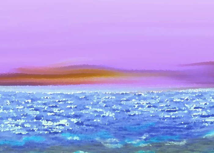 Sunset Sky Sea Waves Light Evening Greeting Card featuring the digital art Sunset 2 by Dr Loifer Vladimir