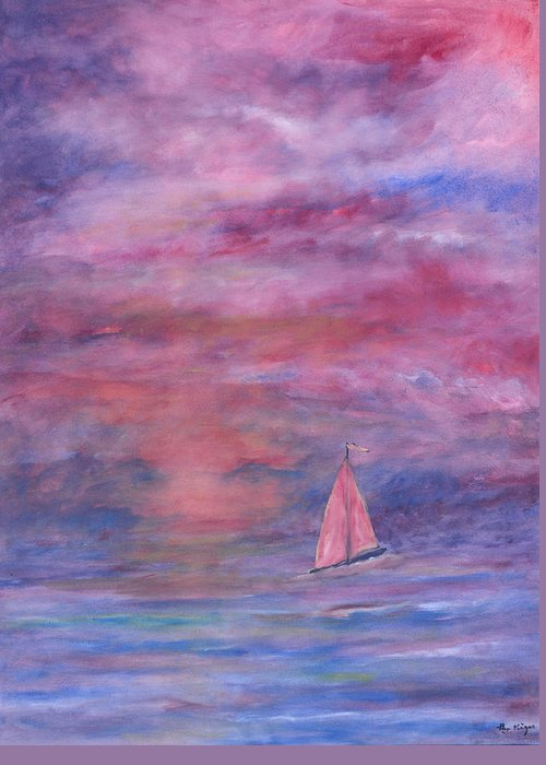 Saling Greeting Card featuring the painting Sunset Adventure by Ben Kiger
