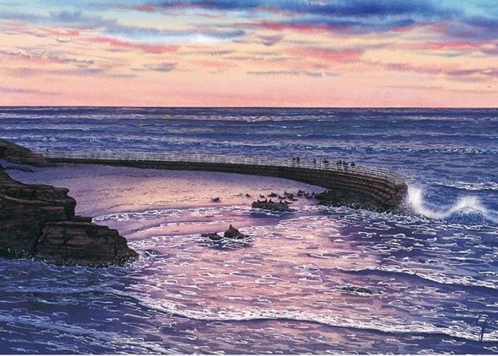 San Diego Paintings Greeting Card featuring the painting Sunset At Children's Pool by John YATO