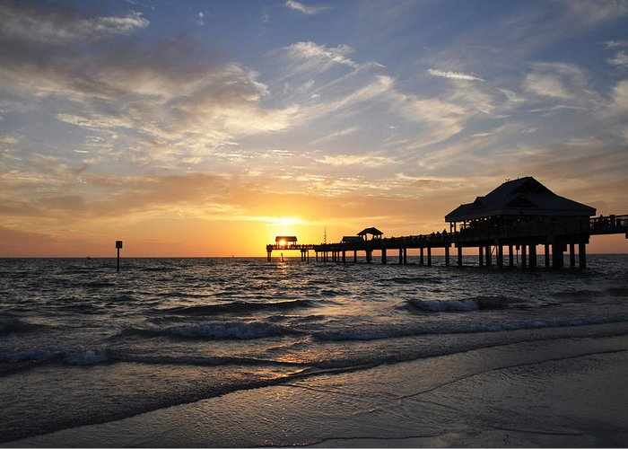 Sunset At Clearwater Greeting Card featuring the photograph Sunset At Clearwater by Bill Cannon