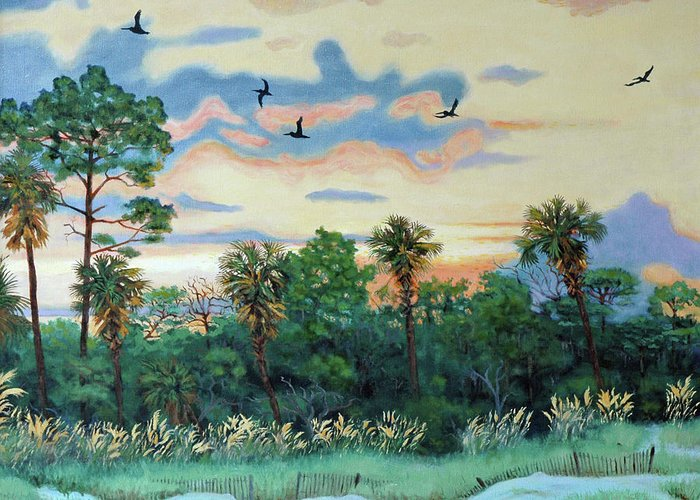 Shrimp Greeting Card featuring the painting Sunset At Hunting Island by Dwain Ray