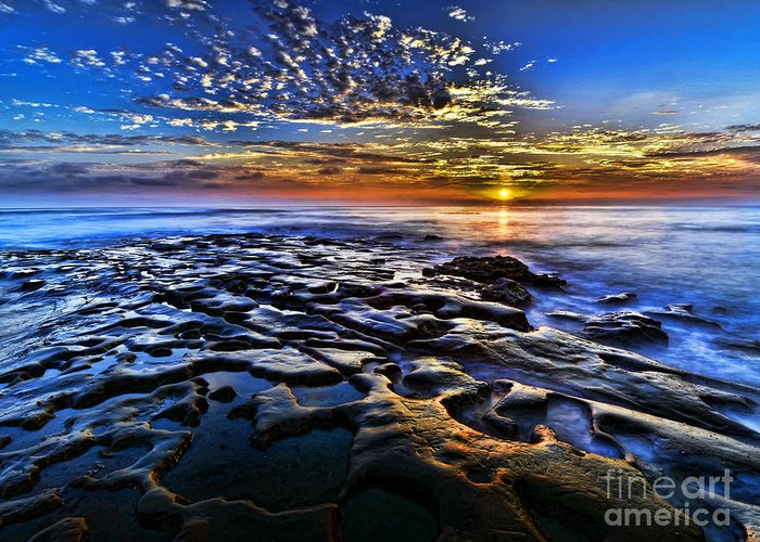 Rocks Greeting Card featuring the photograph Sunset At La Jolla Tide Pools by Peter Dang