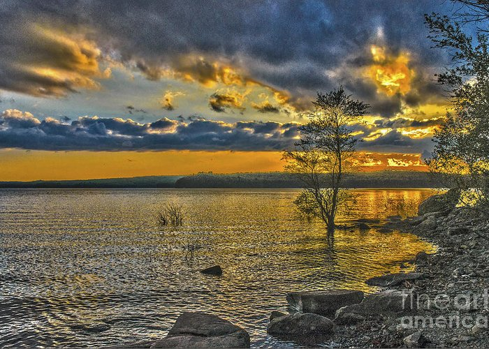 Sunset Greeting Card featuring the photograph Sunset At Lake Wallenpaupack Pa by Zbigniew Krol