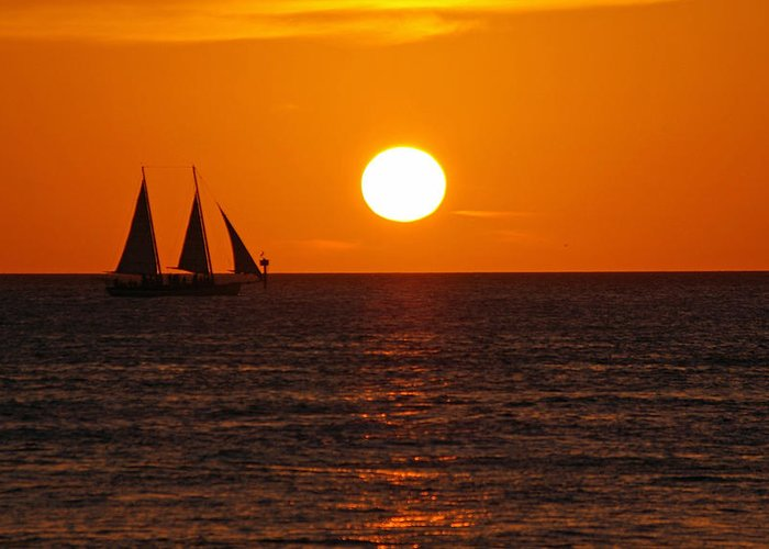 Key West Greeting Card featuring the photograph Sunset At Mallory Square by Greg Graham