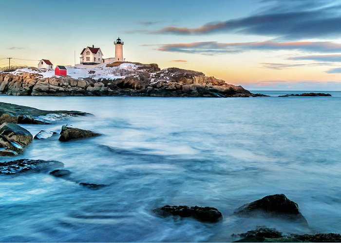 Maine Greeting Card featuring the photograph Sunset At Nubble Light-cape Neddick Maine by Thomas Schoeller